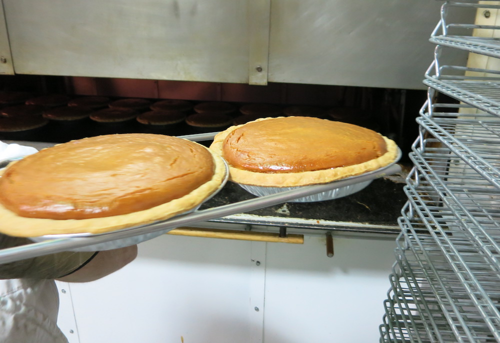 Tippin's pumpkin pies right out of the oven