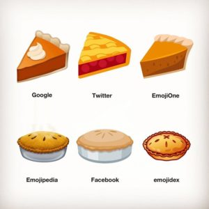 Pie emojis on different platforms